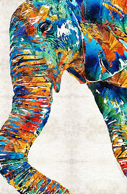 Colorful Elephant Art By Sharon Cummings Art Print