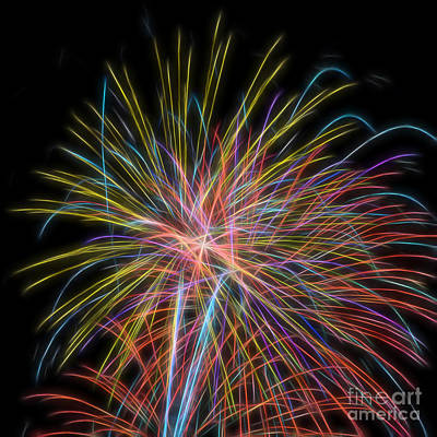 Photograph - Colorful Fractal Fireworks #4 by Yulia Kazansky