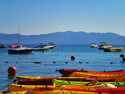 Photograph - Colorful Kayaks Lake Tahoe by Marilyn MacCrakin