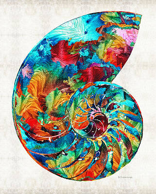 Nature Abstract Painting - Colorful Nautilus Shell By Sharon Cummings by Sharon Cummings