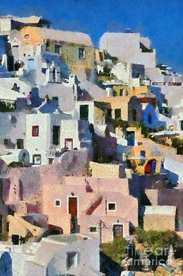 Painting - Colorful  Oia Town by George Atsametakis