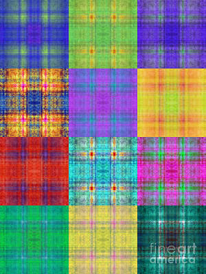 Digital Art - Colorful Plaid Triptych Panel 1 by Andee Design