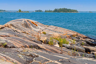 Georgian Bay Photograph - Colorful Rock Formations  by Les Palenik