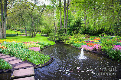 Fountain Photograph - Colorful Spring Summer Park by Michal Bednarek