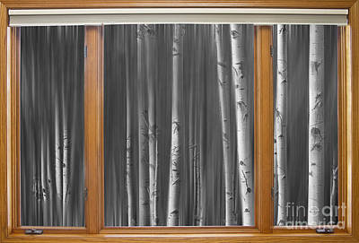 Surrealism Royalty-Free and Rights-Managed Images - BW Surreal Forest Dream Classic Wood Window View  by James BO Insogna