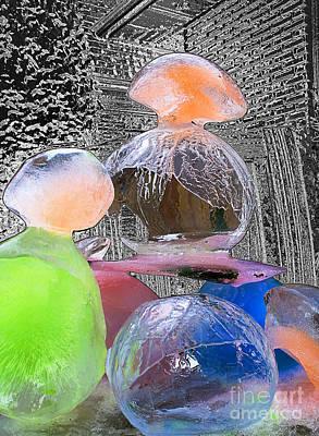 Photograph - Coloured Ice Creation 7 by Nina Silver