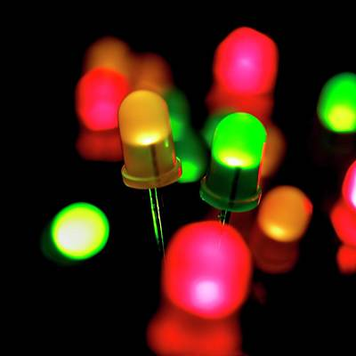 Coloured Leds Print by Science Photo Library