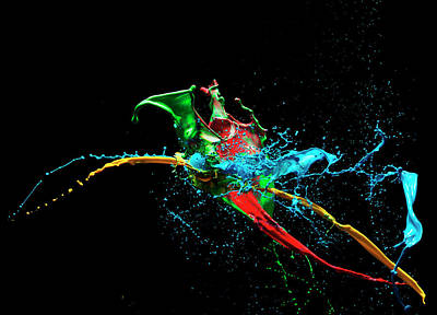 Photograph - Coloured Liquid Splash by Henrik Sorensen