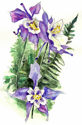 Aquilegia Painting - Columbine Flowers Art by Blenda Studio