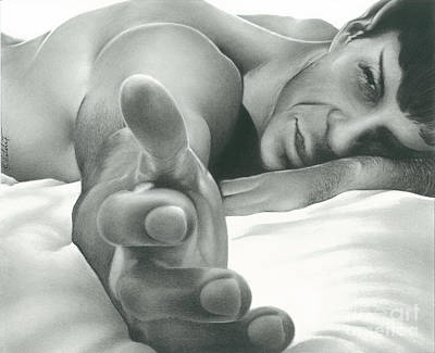 Come Hither Nude Spock Charcoal Pencil Drawing Art Print