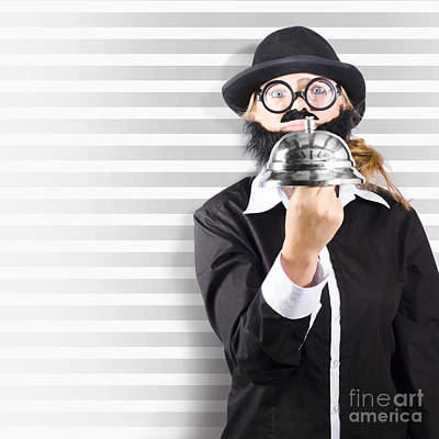 Comic Business Man Holding Big Service Bell Art Print by Jorgo Photography - Wall Art Gallery