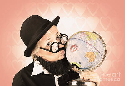 Comical Nerdy Person Kissing The Globe Art Print