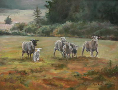Sheep Painting - Coming Home by Dianne L Gardner