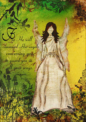 Religious Mixed Media - Command His Angels by Janelle Nichol