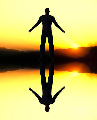 Photograph - Computer Generated Man Reflection At Sunset. by Don Landwehrle