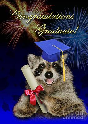 Diploma Digital Art - Congratulations Graduate Raccoon by Jeanette K