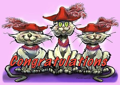 Cat Digital Art - Congratulations by Kevin Middleton