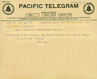 Stockton Photograph - Congratulatory Telegram by Underwood Archives