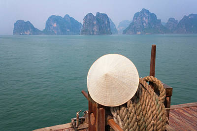 Junk Boat Photograph - Conical Hat On Junk Boat And Karst by Keren Su