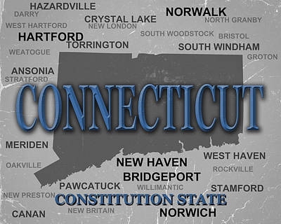 Connecticut State Pride Map Silhouette  Print by Keith Webber Jr