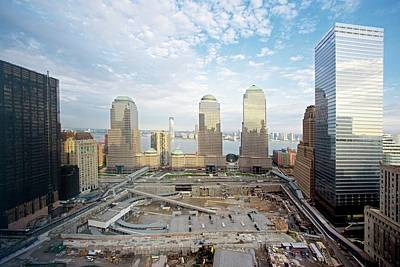 Manhattan Island Photograph - Construction At The Twin Towers Site by Library Of Congress