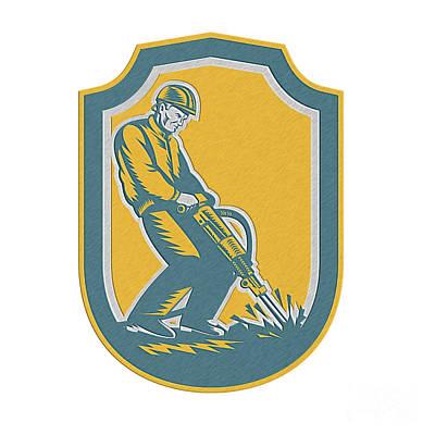 Jack Drill Digital Art - Construction Worker Jackhammer Drill Shield Retro by Aloysius Patrimonio