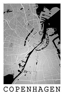 Unicorn Dust - Copenhagen Street Map - Copenhagen Denmark Road Map Art on Color by Jurq Studio