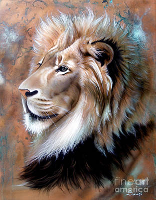 Painting - Copper King - Lion by Sandi Baker