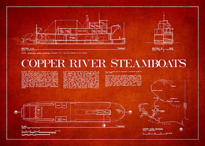 Boat Digital Art - Copper River Steamboats Blueprint by Aged Pixel