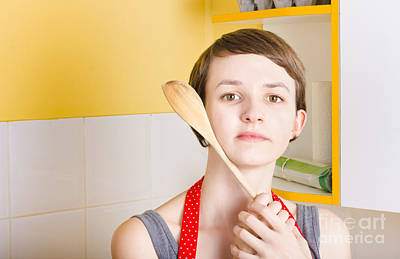 Reverie Photograph - Copyspace Portrait Of A Cooking Girl With Spoon by Jorgo Photography - Wall Art Gallery