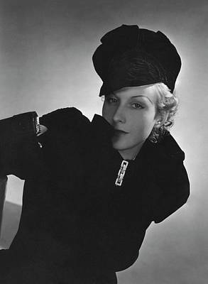 Brooch Photograph - Cora Hemmet Wearing Reboux And Boucheron by Horst P. Horst