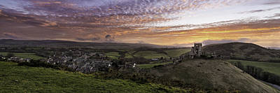 Fantasy Royalty-Free and Rights-Managed Images - Corfe Castle Sunset by Ollie Taylor