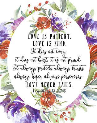 Bible Verse Painting - 1 Corinthians 13 4, 7-8 by Tara Moss