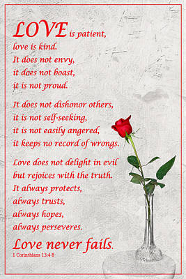 Photograph - 1 Corinthians 13 by Dawn Currie