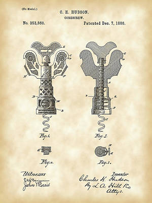 Cabernet Digital Art - Corkscrew Patent 1886 - Vintage by Stephen Younts