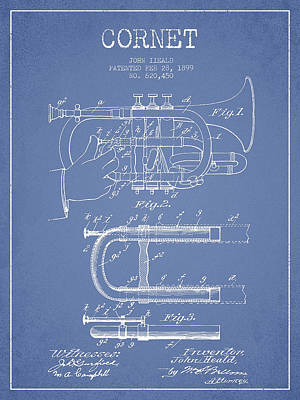 Trumpet Digital Art - Cornet Patent Drawing From 1899 - Light Blue by Aged Pixel