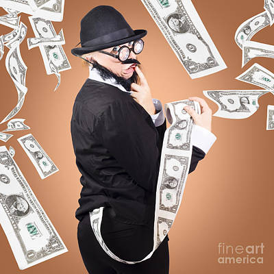 Corrupt Business Man Money Laundering Us Dollars Art Print by Jorgo Photography - Wall Art Gallery