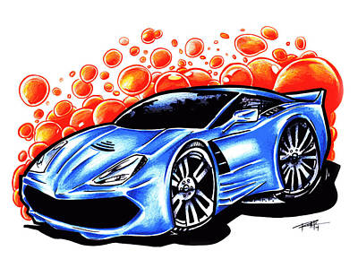 Super Cars Drawing - Corvette by Big Mike Roate