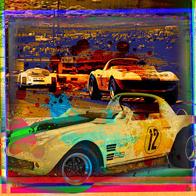Digital Art - Corvette Racing by Gary Grayson