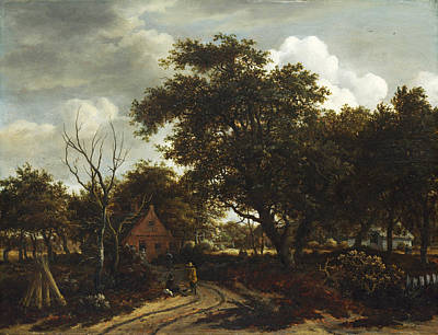 Painting - Cottages In A Wood by Meindert Hobbema