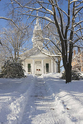 Country Church In Winter Wiscasset Maine Art Print by Keith Webber Jr