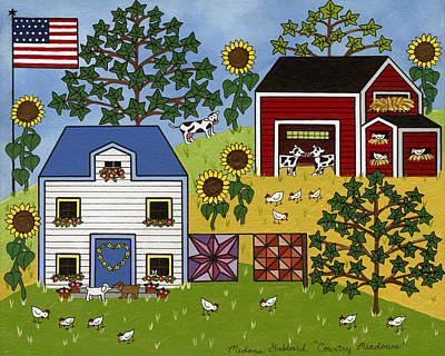 Quilts Painting - Country Meadows by Medana Gabbard