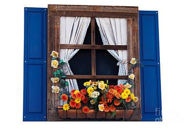 Vintage Movie Stars - Country style window with flowers by Gunter Nezhoda