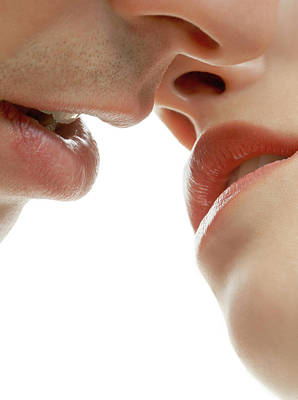 Couple Kissing Art Print by Kate Jacobs/science Photo Library