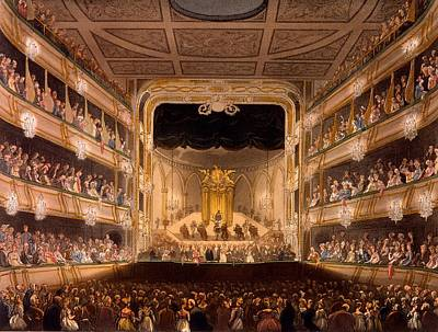 Theater Drawing - Covent Garden Theater by Pugin and Rowlandson