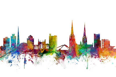 Silhouette Digital Art - Coventry England Skyline by Michael Tompsett
