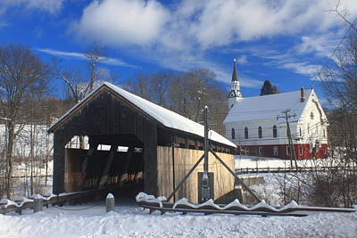 Photograph - Covered Bridge And Church Conway Massachusetts by John Burk