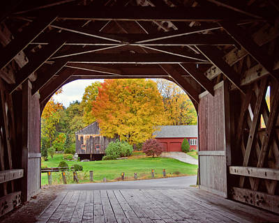 Photograph - Covered Bridge In Autumn by Donna Doherty