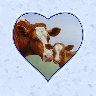 Brown Cow Painting - Cow And Calf Blue Heart by Crista Forest