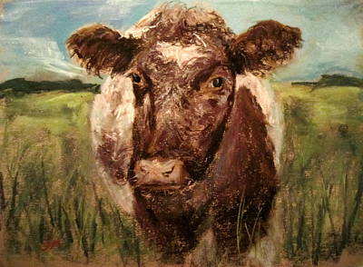 Art Print featuring the painting cow by Jieming Wang